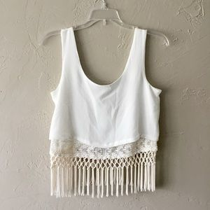 Gianni Bini cream crochet boho festival crop top
